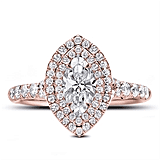 Marquise Double Halo Engagement Ring Setting in 18K Rose Gold