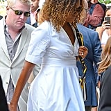 Michelle Obama in White Dress and Wedges in NYC 2019