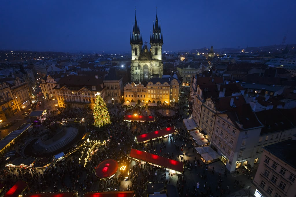 pragues christmas market was set up in the old town square