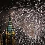 The sky in Prague, Czech Republic, was filled with fireworks.