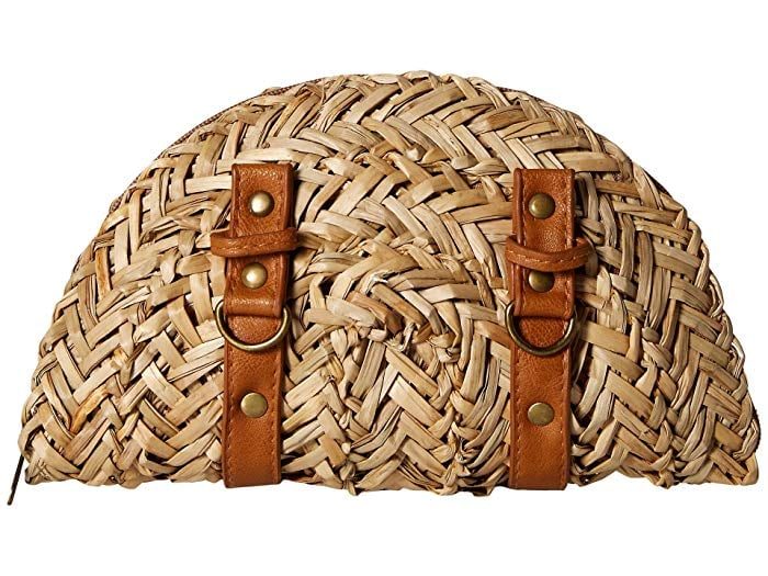 San Diego Hat Company BSB1563 Woven Seagrass Clutch with Faux Leather Straps