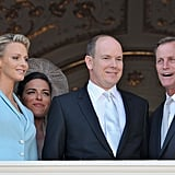 Princess Charlene of Monaco and Prince Albert II of Monaco chat with their witnesses Donatella Knecht de Massy and Chris Le Vine.