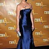 Katherine Heigl glowed in a metallic blue Farah Angsana gown.