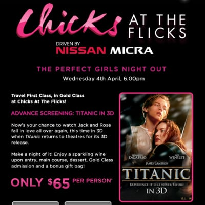 Watch Titanic in 3D at Village Cinemas' Chicks at the Flicks Gold Class Session