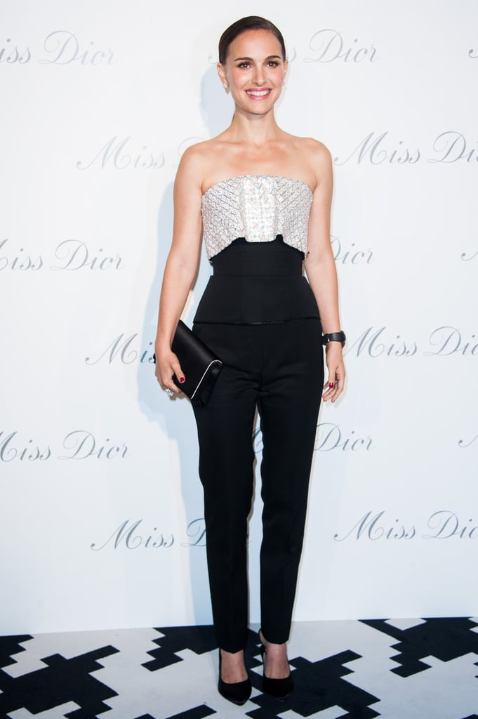 At the Esprit Dior, Miss Dior exhibition event, Natalie Portman looked elegant in a strapless Dior Haute Couture bustier top and black wool cigarette trousers.