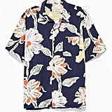 UO Painted Floral Rayon Short Sleeve Button-Down Shirt