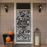 "Heritage Lace Halloween Skeleton ""Rest in Pieces"" Window Curtain Panel in Pewter"