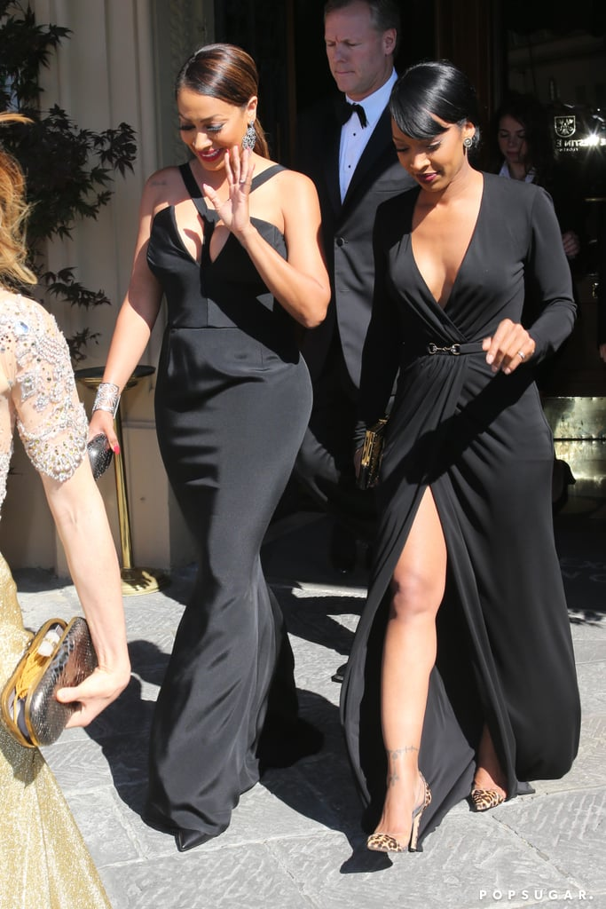 LaLa Anthony left her hotel for the wedding reception.