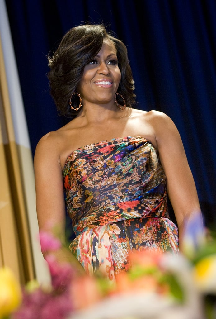 First Lady Michelle Obama was stunning in a strapless dress.
