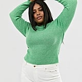 ASOS DESIGN Curve Recycled Blend Crew Neck Jumper in Skinny Rib in Twist