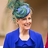 Sophie, Countess of Wessex attended an Easter service in 2013 wearing peacock feathers on her fascinator, which beautifully complemented her royal blue outfit.
