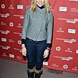 Toni Collette donned a structured grey jacket and fur-trimmed boots at Sundance.