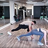 Again starting in a push-up position, step one foot up toward your hands . . .