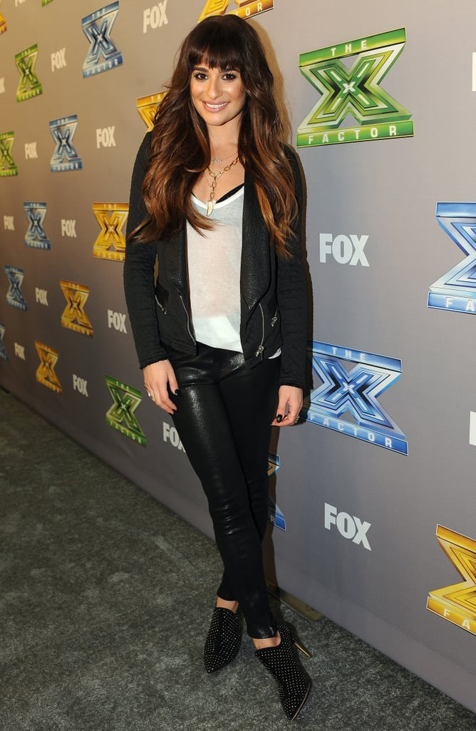 6ea3f25bafa72 Lea Michele in Black Bra and White T-Shirt on The X Factor ...