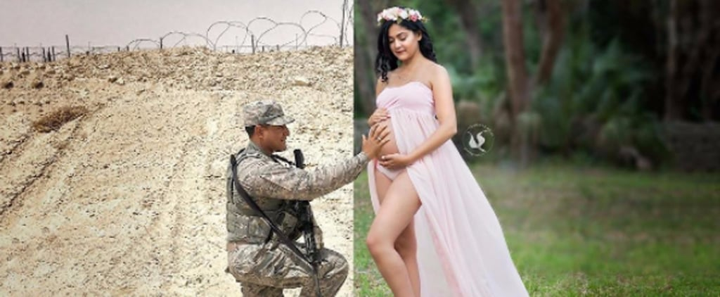 Deployed Military Dad's Maternity Photo
