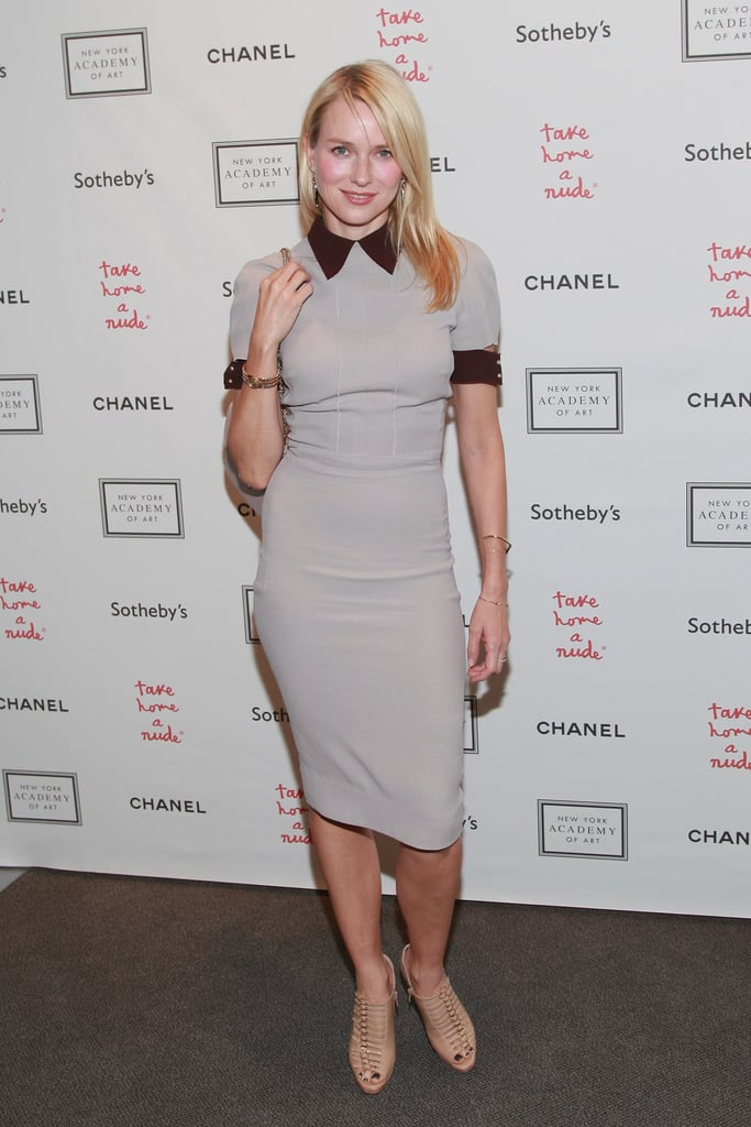 Naomi Watts hit the red carpet at the Take Home a Nude art auction in NYC.