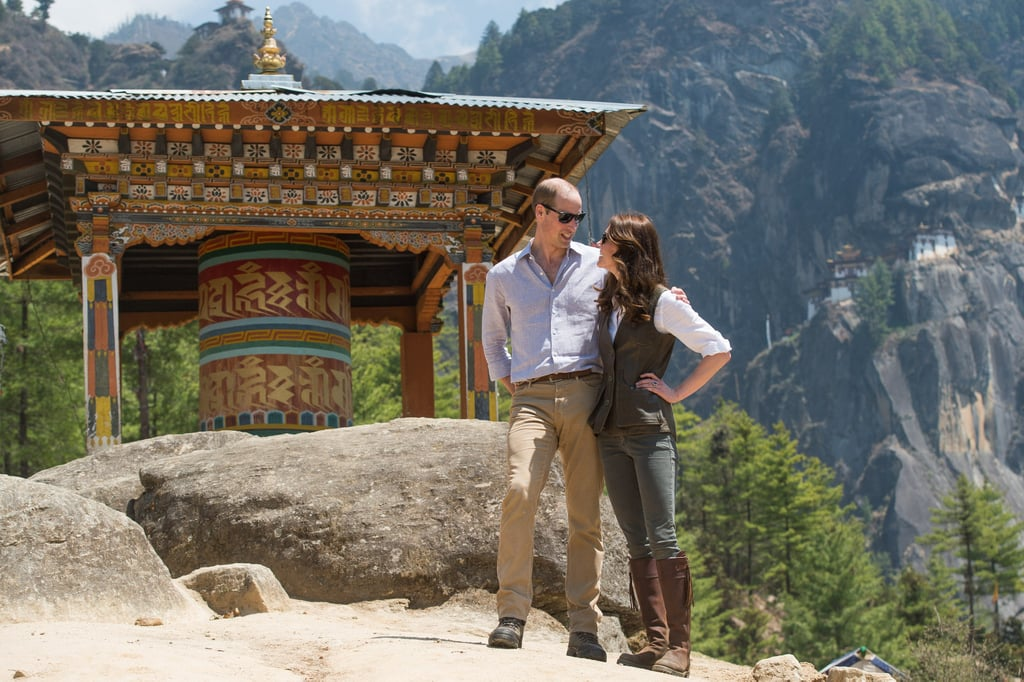 While hiking in Bhutan in April 2016, the couple shared a sweet moment together.