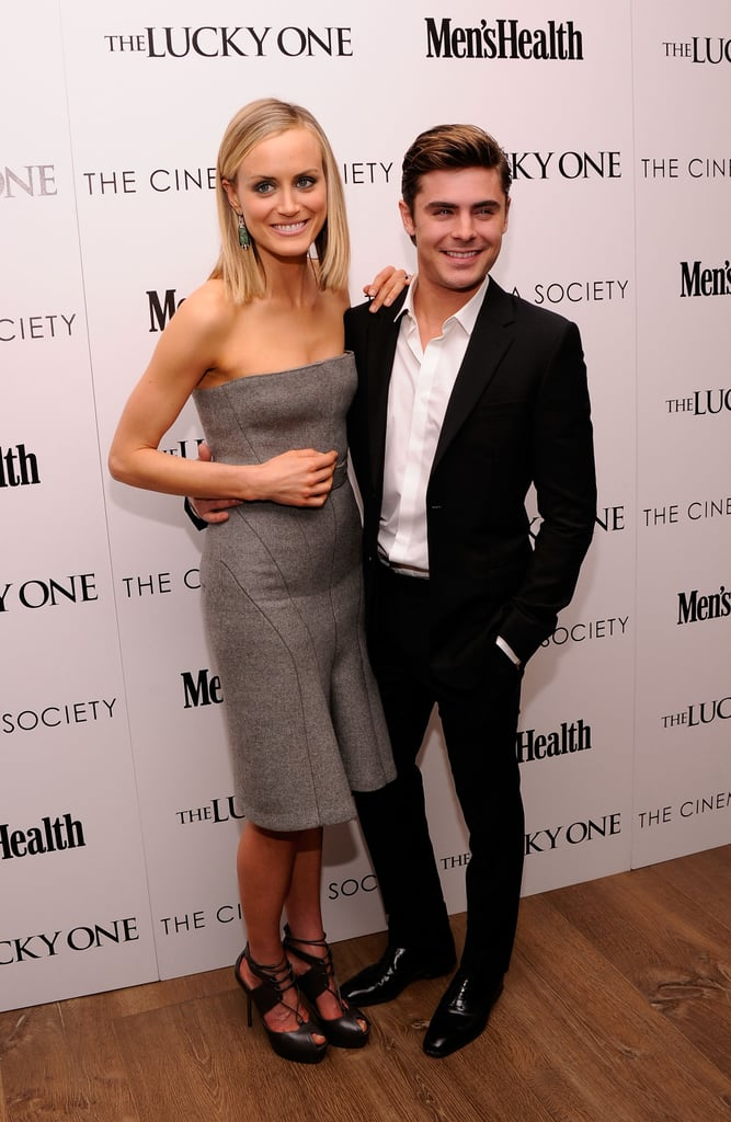 Zac Efron and Taylor Schilling teamed up last night at the Cinema Society and Men's Health screening of The Lucky One in NYC. Zac is the magazine's latest cover star, and though the publication is geared toward guys, he had the support of plenty of women yesterday. His leading ladies Taylor and Blythe Danner shared the spotlight with him, while Nicky Hilton and model Doutzen Kroes likewise stopped by to see the film. One of the most important women in Zac's life — his mother, Starla — has also had a chance to watch the movie. Last night, Zac said he felt awkward during the love scenes when Starla joined him for a recent screening. Zac admitted that he even tried to sneak out of the theater during the hot-and-heavy moments.