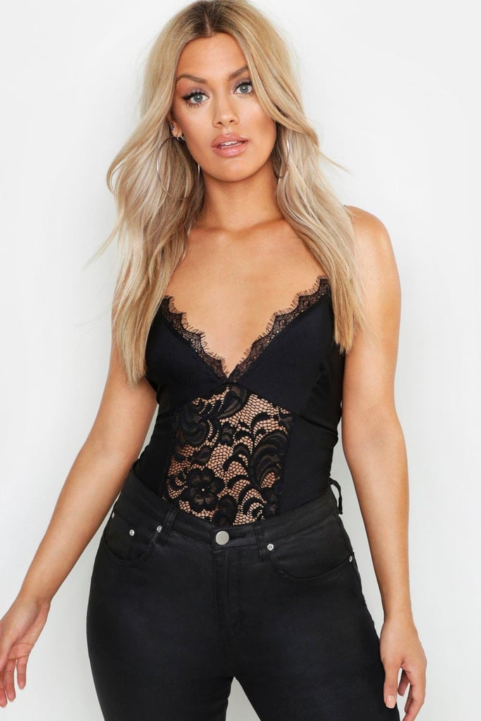 Boohoo Lace Satin Bodysuit