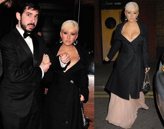 Photos of Christina Aguilera and Jordan Bratman at L'Atelier Restaurant Before Partying with Prince Harry and Prince William