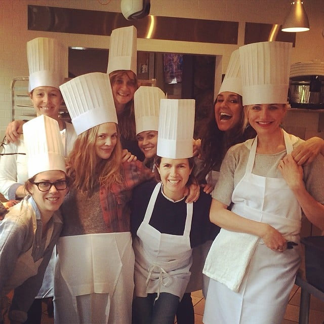The whole group posed together during their cooking class.  Source: Instagram user gucciwestman