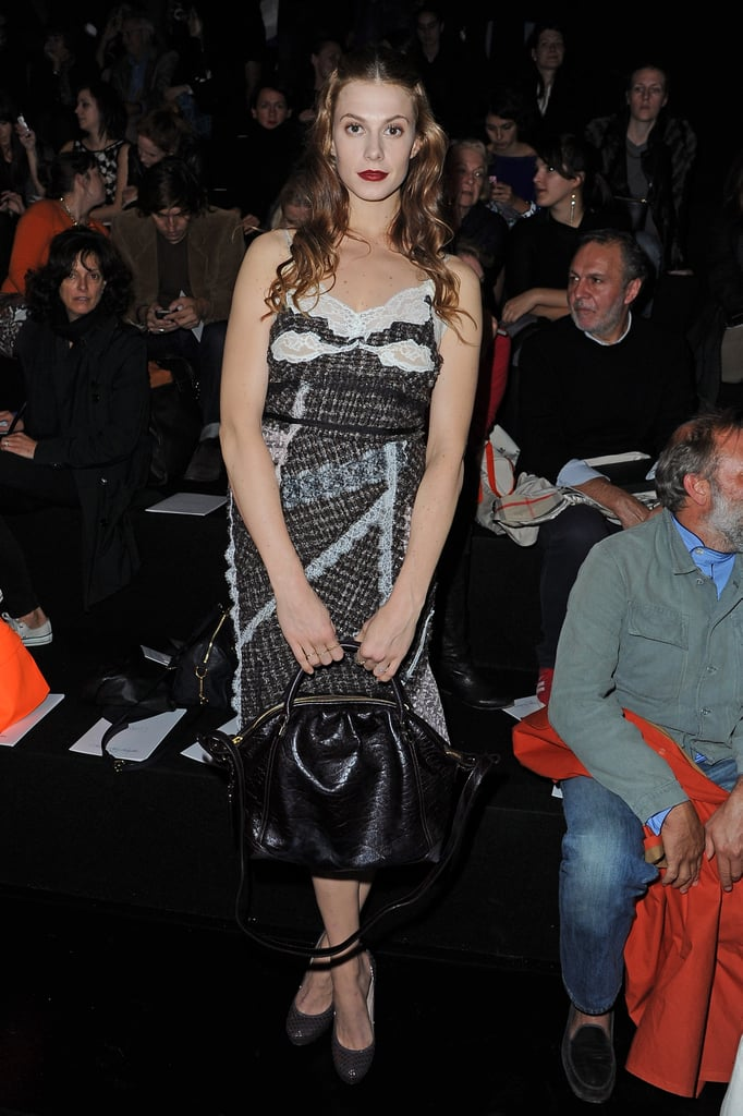 Elettra Wiedemann took a slinky slipdress approach to her front-row style at Nina Ricci.