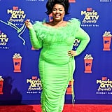 None of Lizzo's looks could be more unforgettable than this ruched Christopher John Rogers dress she wore to the 2019 MTV Movie and TV Awards. The neon green colour and feathered neckline make for such a fun look.