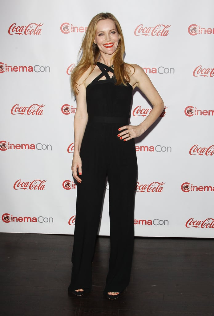 Our girl crush on Leslie Mann only grew when the actress stepped out for CinemaCon in a strappy, sexy jumpsuit.