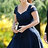 For Pippa Middleton's wedding, Princess Eugenie accessorised her blue dress with a simple white pillbox hat.