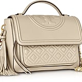 Tory Burch Light Taupe Fleming Leather Satchel Bag