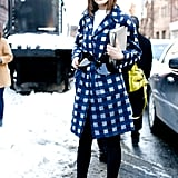 When you're playing it safe with shoes and bottoms, your outerwear can be a fun place to bring in some pattern or color.