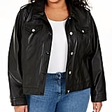 Calvin Klein Button-Front Faux-Leather Jacket