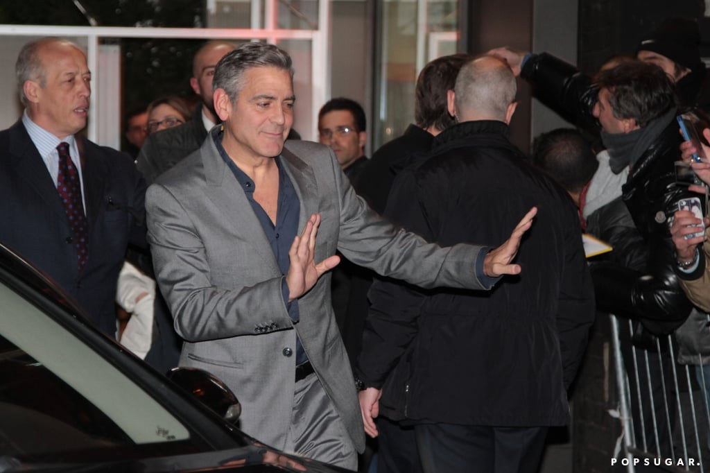 George Clooney Keeps Fans Calm and Carries On in Italy