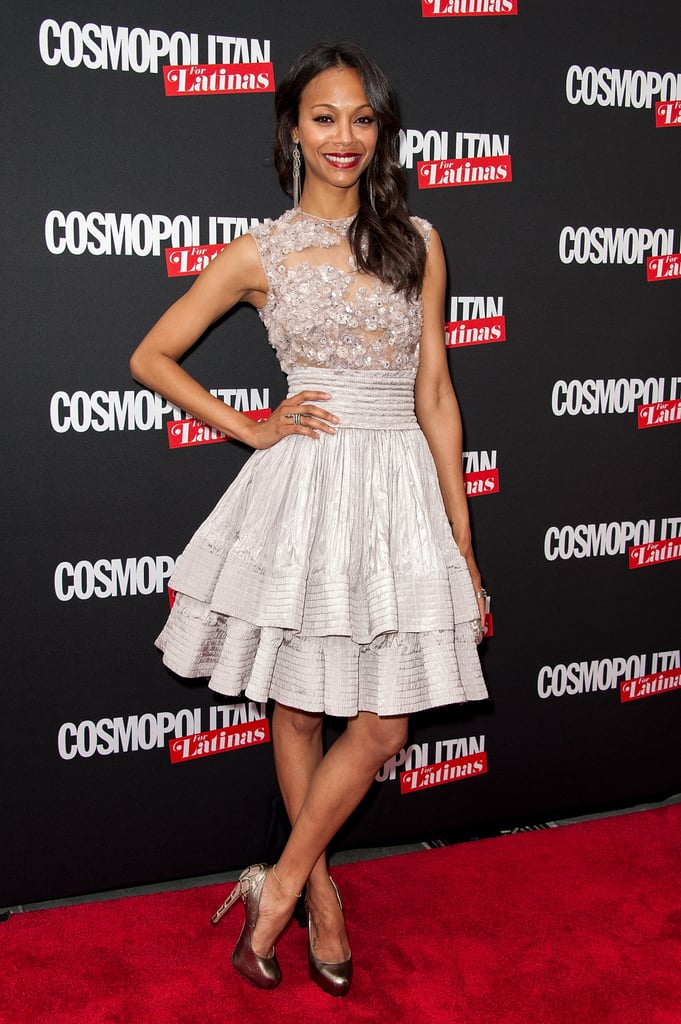 "Zoe Saldana looked radiant in a lilac Elie Saab number at the Cosmopolitan for Latinas launch party last night in NYC. The 33-year-old Avatar star covers the premiere issue of the magazine, which hit newsstands on May 1. Zoe has another reason to celebrate, as she's also nominated for best Latino actor at the upcoming MTV Movie Awards for her work in Colombiana.  Zoe is currently wrapped up in three new projects, shooting two thrillers, Blood Ties and Out of the Furnace, as well as a Star Trek sequel. She may once again don the tight blue suit as Neytiri in Avatar 2, but for last night's launch, Zoe was all about being herself. Having split from boyfriend of 11 years Keith Britton in November of last year, Zoe reflected on her new life. She also spoke about body image, NYC, and how it feels to be in her 30s. Zoe said:  On following her heart: ""The reality is, I have gotten this far because I don't pay attention to anything but my heart and what I want to do. And if it's a hit today, or if it's a miss tomorrow, seriously — no regrets because if I follow my heart I can never be wrong."" On body image: ""I have always been on the slender side, and I am the only one in my family! Trust me, they hate that I can eat! And I am not saying because I got it like that, but the older you get, you to have to be more conscious about your body. Not the image things that might suffer, but it's internal — your heart with cholesterol and fats, or depriving your body of certain nutrients you need just because you want to look good."" On being inspired by her hometown: ""There is nothing more beautiful than coming here to New York because this is my native home. Seeing the fashion in the streets, even going into the deli or the bodega, it makes me miss New York so much. But LA is like that too. I just love art, and I don't care if it comes in a pair of sneakers, a painting, or a Givenchy dress."" On her 30s: ""I am very happy now that in my early 30s the pressure of wanting to please others dissipates more and more. And now, it's about being me. There have been a lot of changes in my life over the past year. But I am happy that through all that, the biggest gift I have been receiving every day is getting to know myself not through anybody else and not through another entity or another organization that tells me who I am but me. And it feels kind of fu*king cool being in your 30s, I have to say."""