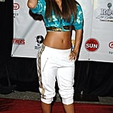 The Barbados beauty infused island flavor to Jay Z's Roc La Familia T-Dot Take Over red carpet in a brilliant blue cropped hoodie and white track pants in 2005.