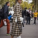 Style a Checkered Coat With White Heeled Boots