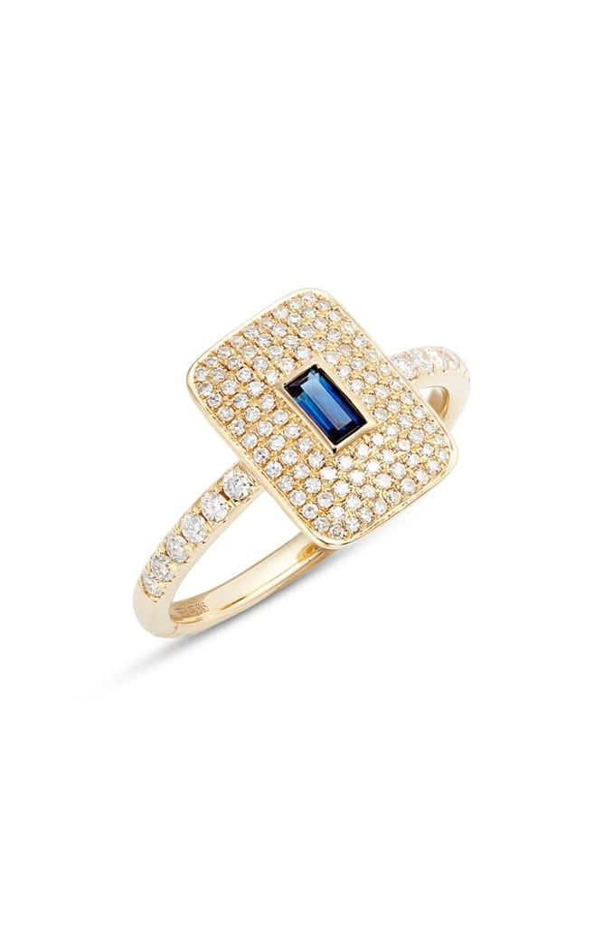 EF Collection Blue Sapphire and Pavé Diamond Ring