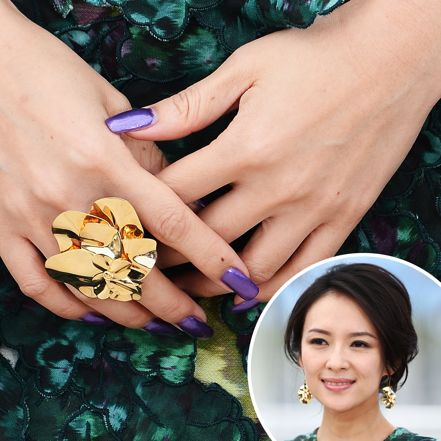 Ziyi Zhang went with an electric violet hue on her nails at a Cannes event.