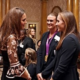 Kate Middleton spoke with Team GB medalists in London.