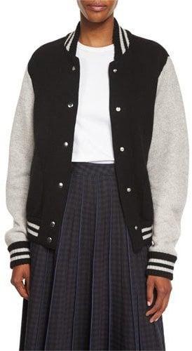 Marc Jacobs Colorblock Knit Varsity Jacket, Black/White/Multi ($595)