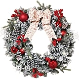 Lighted Battery-Operated Flocked Pine Wreath