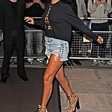 We love the urban-cool vibe of Rihanna's emerald Kenzo ball cap, denim cutoffs, and leopard Chloe Sevigny for Opening Ceremony boots.