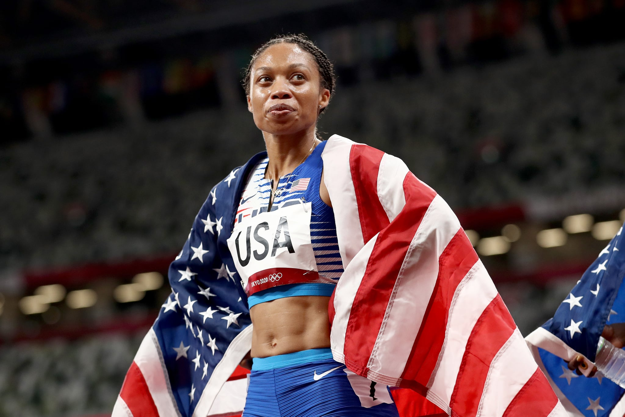 TOKYO, JAPAN - AUGUST 07: Allyson Felix of Team United States reacts after winning the gold medal in the Women's 4 x 400m Relay Final on day fifteen of the Tokyo 2020 Olympic Games at Olympic Stadium on August 07, 2021 in Tokyo, Japan. (Photo by Ryan Pierse/Getty Images)