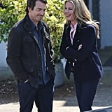 Rebecca Romijn and Jon Tenney shared a laugh on the King & Maxwell set in Vancouver on Tuesday.