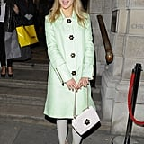 Pulling out the pastels in a Mulberry ensemble, Suki was a vision in green at Christie's in November 2012.