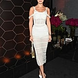 Bella Wore a Ruched, See-Through Dress to a Bulgari Fragrance Launch