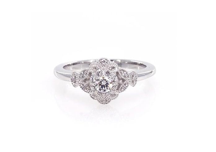 James Allen 14K White Gold Sculpted Flower Engagement Ring