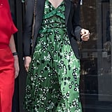 A Printed Dress and Blazer in London in April 2018