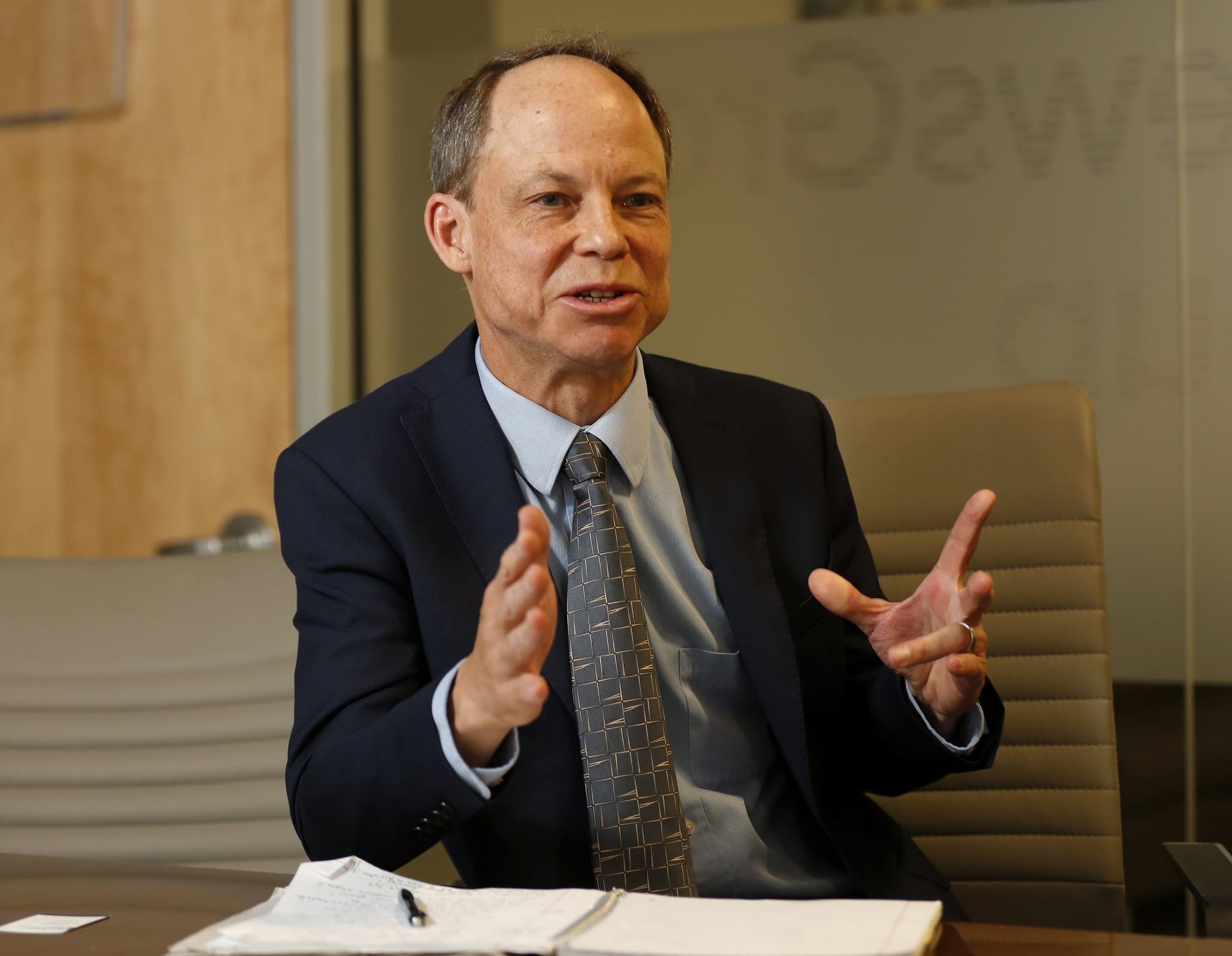 SAN JOSE, CA - APRIL 19: Santa Clara County Superior Court judge Aaron Persky speaks regarding the recall election against him with the editorial board of the Mercury News at the Mercury News offices in downtown San Jose, Calif., on Thursday, April 19, 2018. (Nhat V. Meyer/Bay Area News Group via Getty Images)