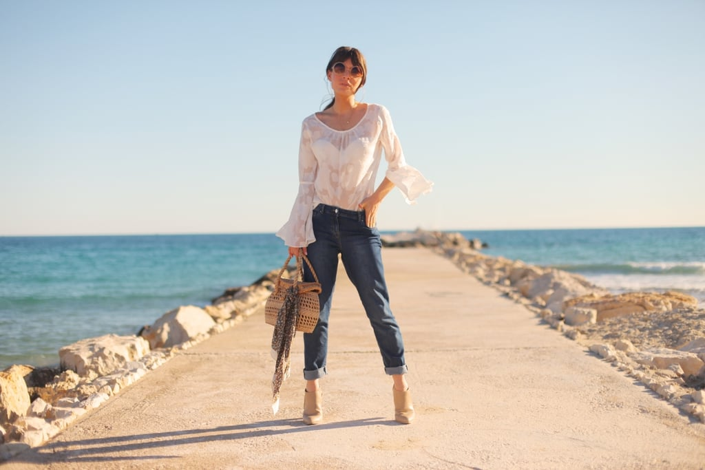 The beach as a landscape is very bohemian – and I like to play this up when I'm by the sea. Simple, barely there blouses that whip in the wind, messy hair and baggy jeans that still flatter – easy basics to throw on and very Jane Birkin inspired, a true fashion hero of mine!